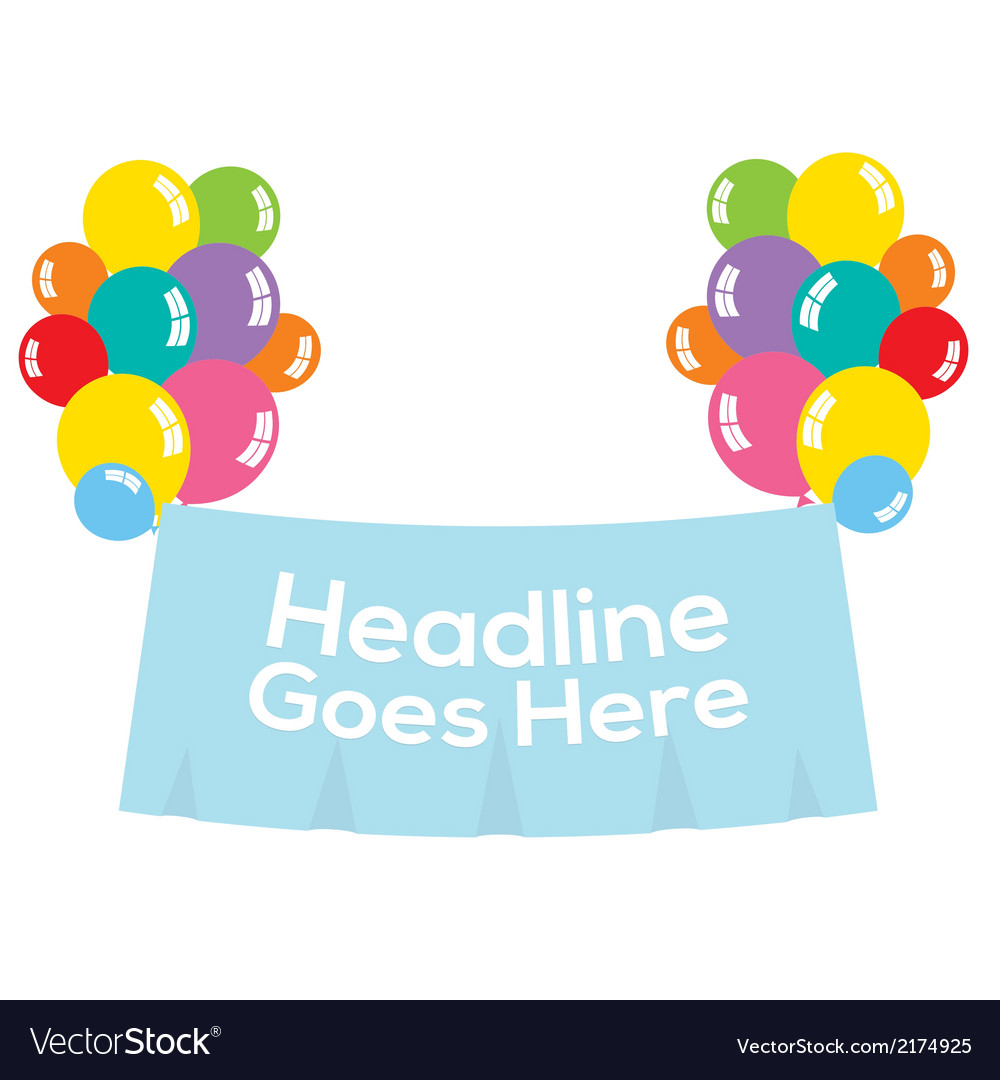 Colorful balloons with blank banner vector | Price: 1 Credit (USD $1)