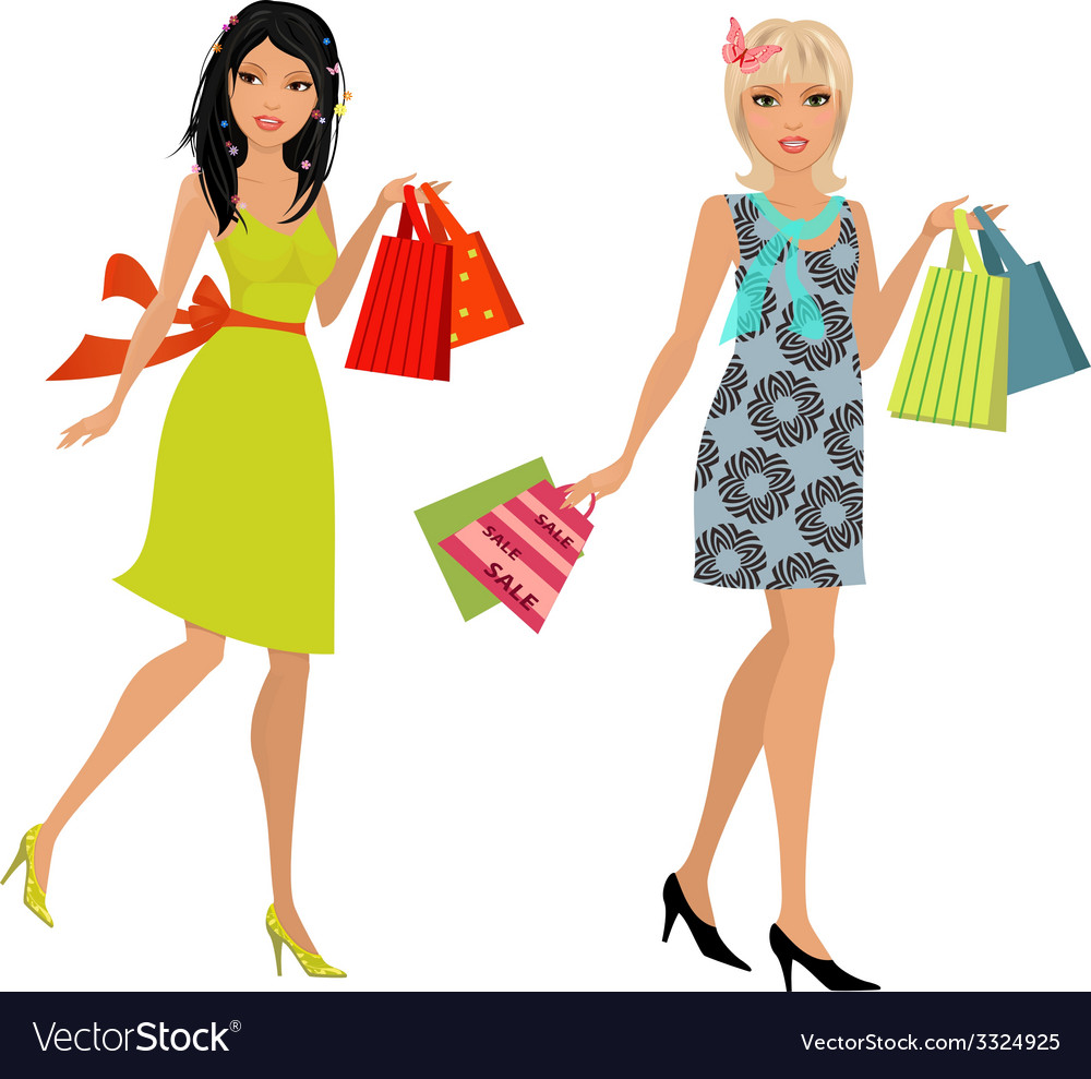 Fashion young women with purchase for your design vector | Price: 1 Credit (USD $1)