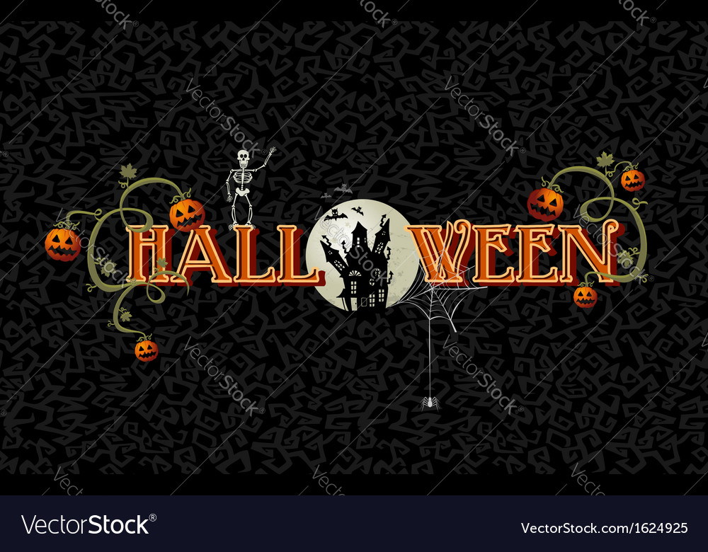 Halloween text with full moon and haunted house vector | Price: 1 Credit (USD $1)