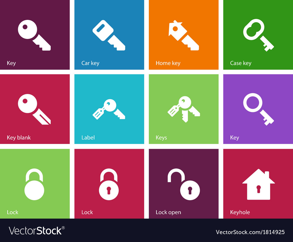 Key icons on color background vector | Price: 1 Credit (USD $1)