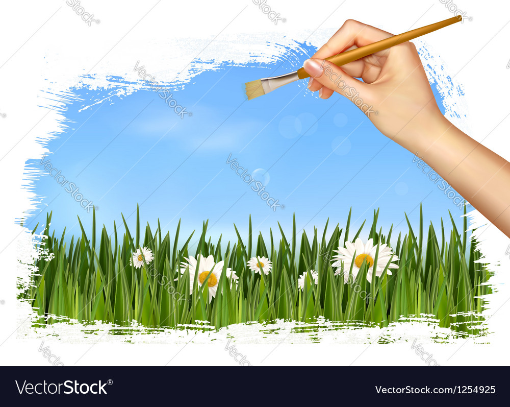 Nature background with hand holding a brush vector | Price: 3 Credit (USD $3)