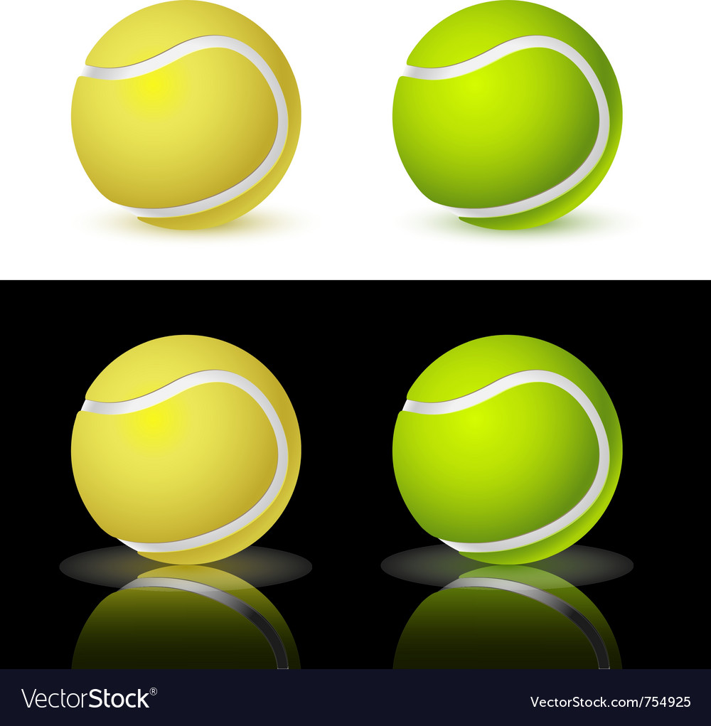 Of the four tennis balls on white and black backgr vector | Price: 1 Credit (USD $1)
