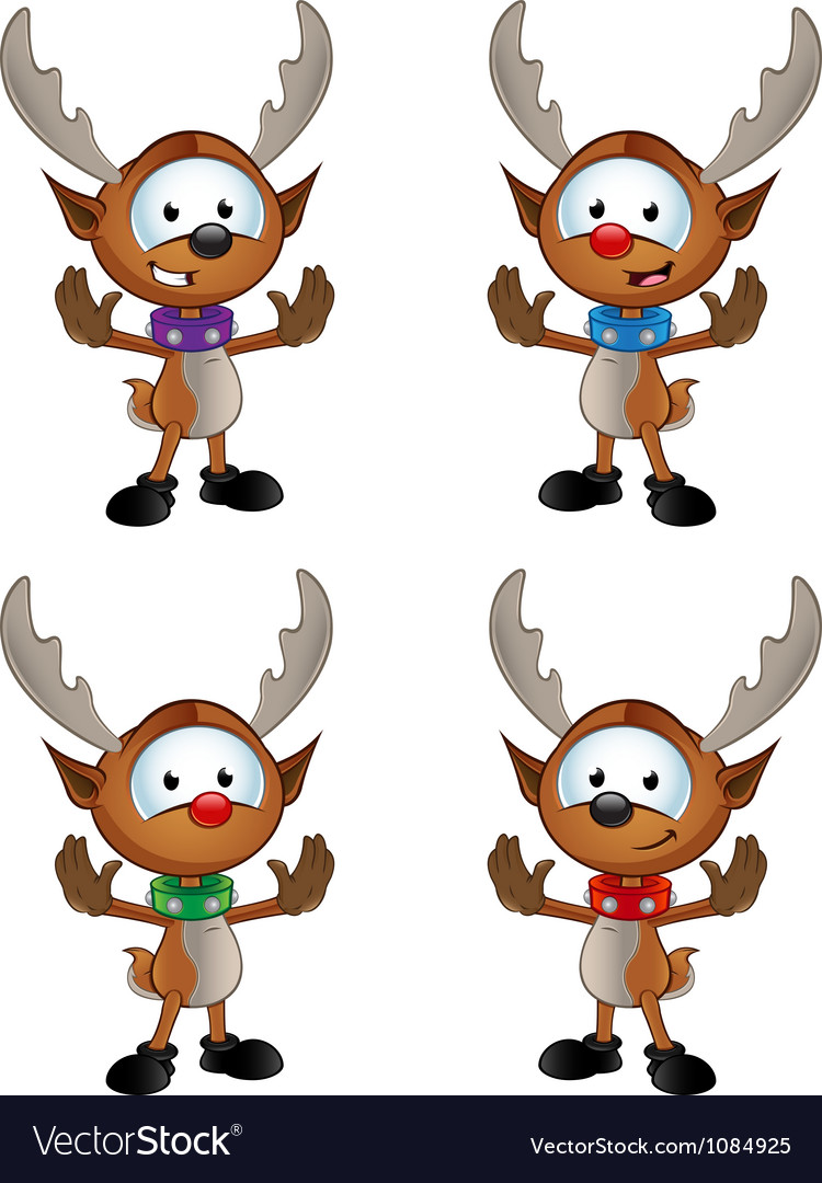 Reindeer character gesturing to halt vector | Price: 3 Credit (USD $3)