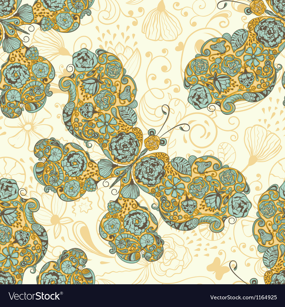 Seamless pattern with butterflies vector | Price: 1 Credit (USD $1)