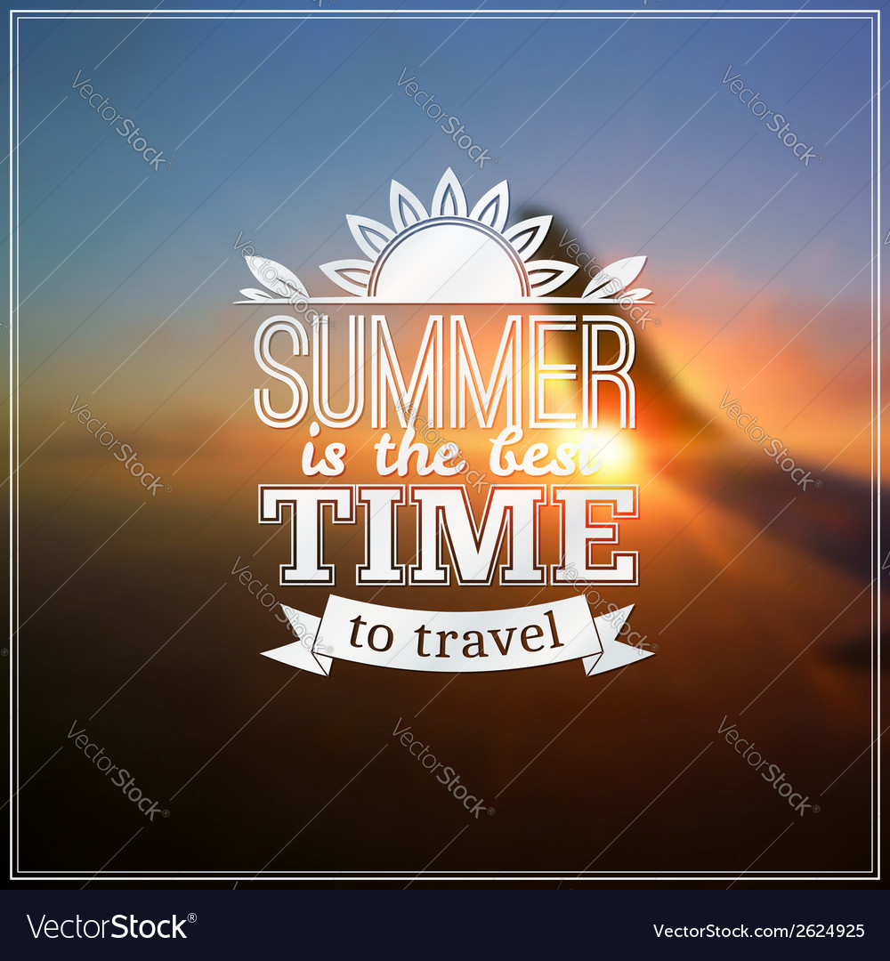 Summer time typography design on blurred sky vector   Price: 1 Credit (USD $1)