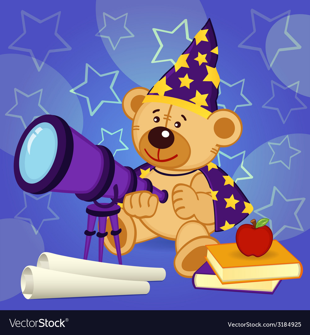Teddy bear astronomer vector | Price: 1 Credit (USD $1)