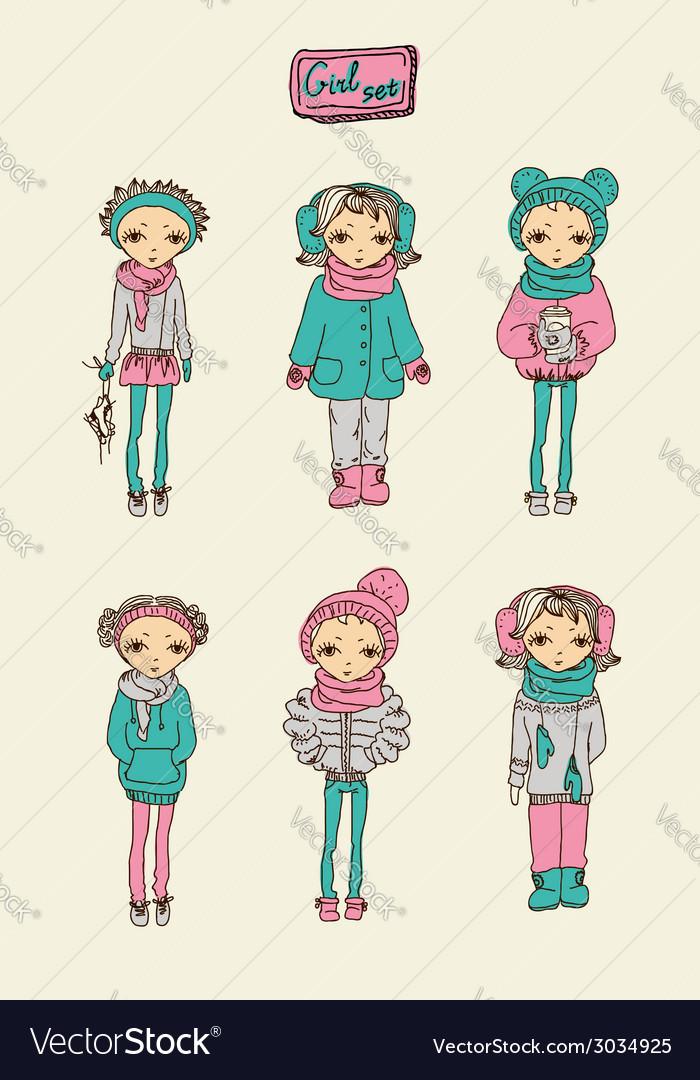Teenage girl set vector | Price: 1 Credit (USD $1)