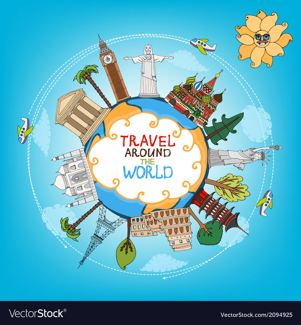 Travel landmarks monuments around world vector | Price: 1 Credit (USD $1)