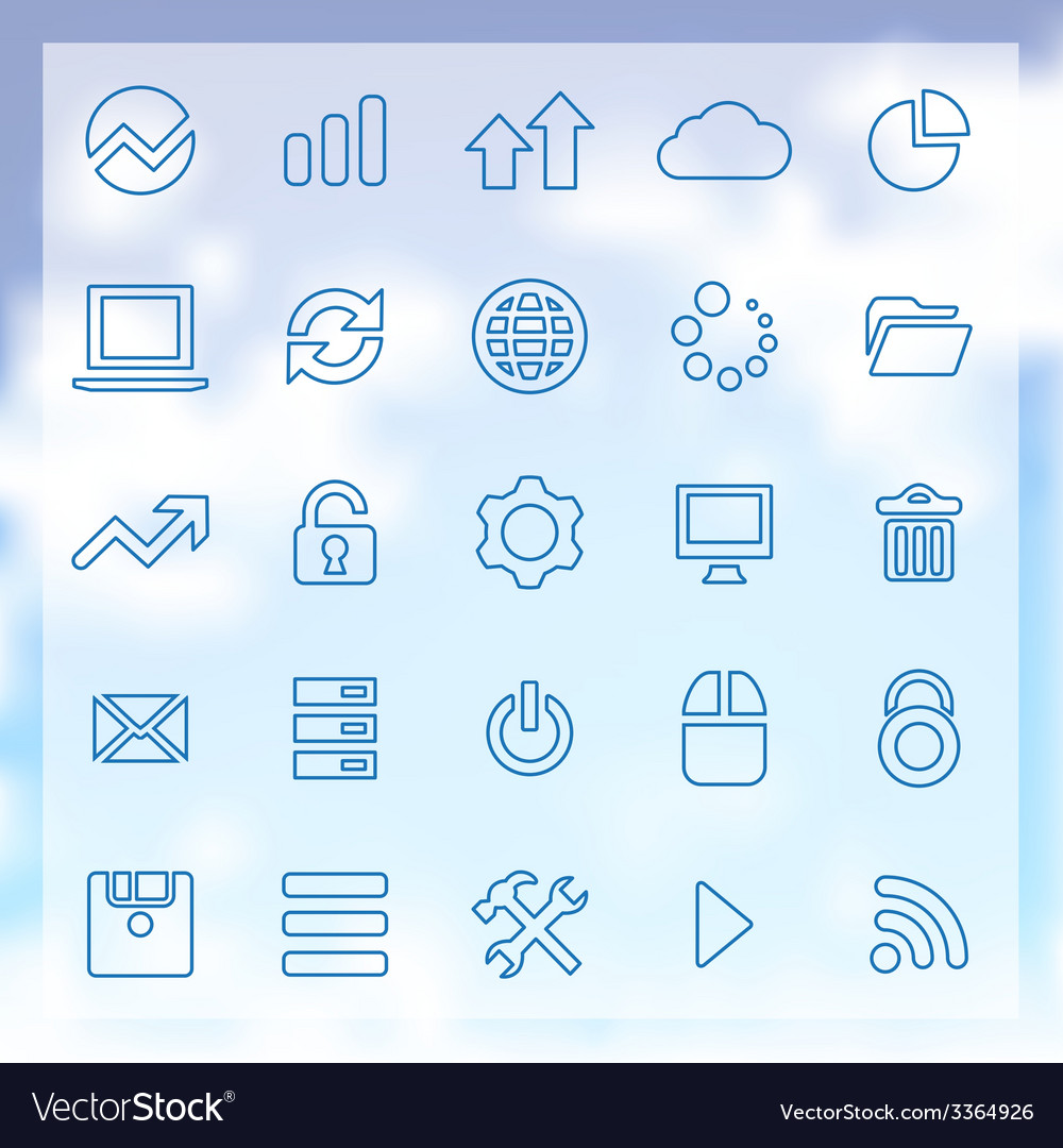 25 big data database icons set vector | Price: 1 Credit (USD $1)