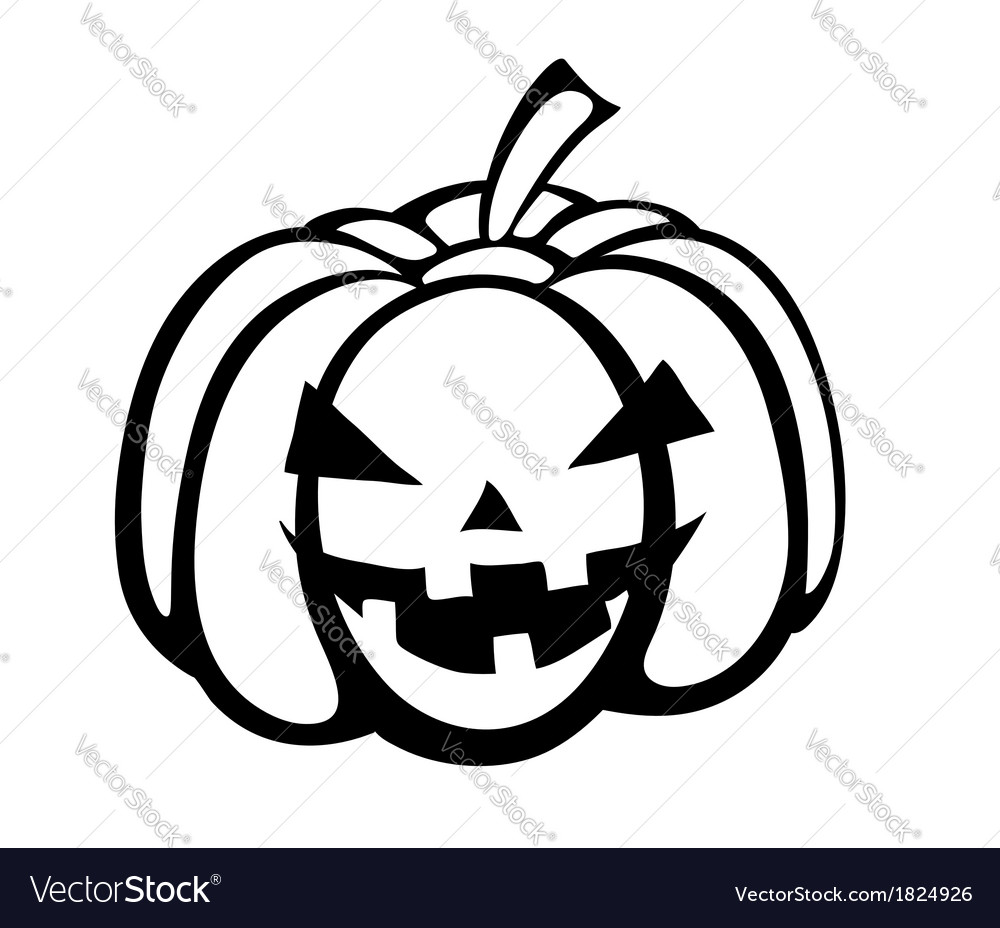 Black-and-white silhouette of pumpkin halloween vector | Price: 1 Credit (USD $1)