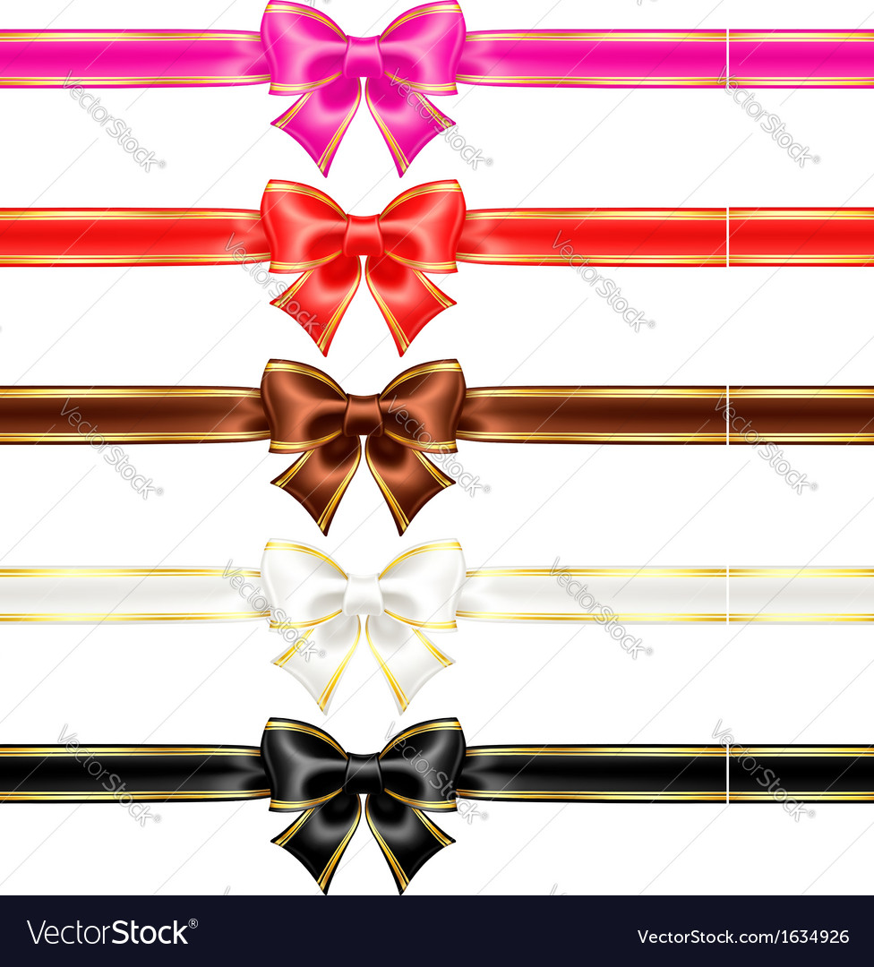Bows with edging and ribbons in warm colors vector | Price: 1 Credit (USD $1)