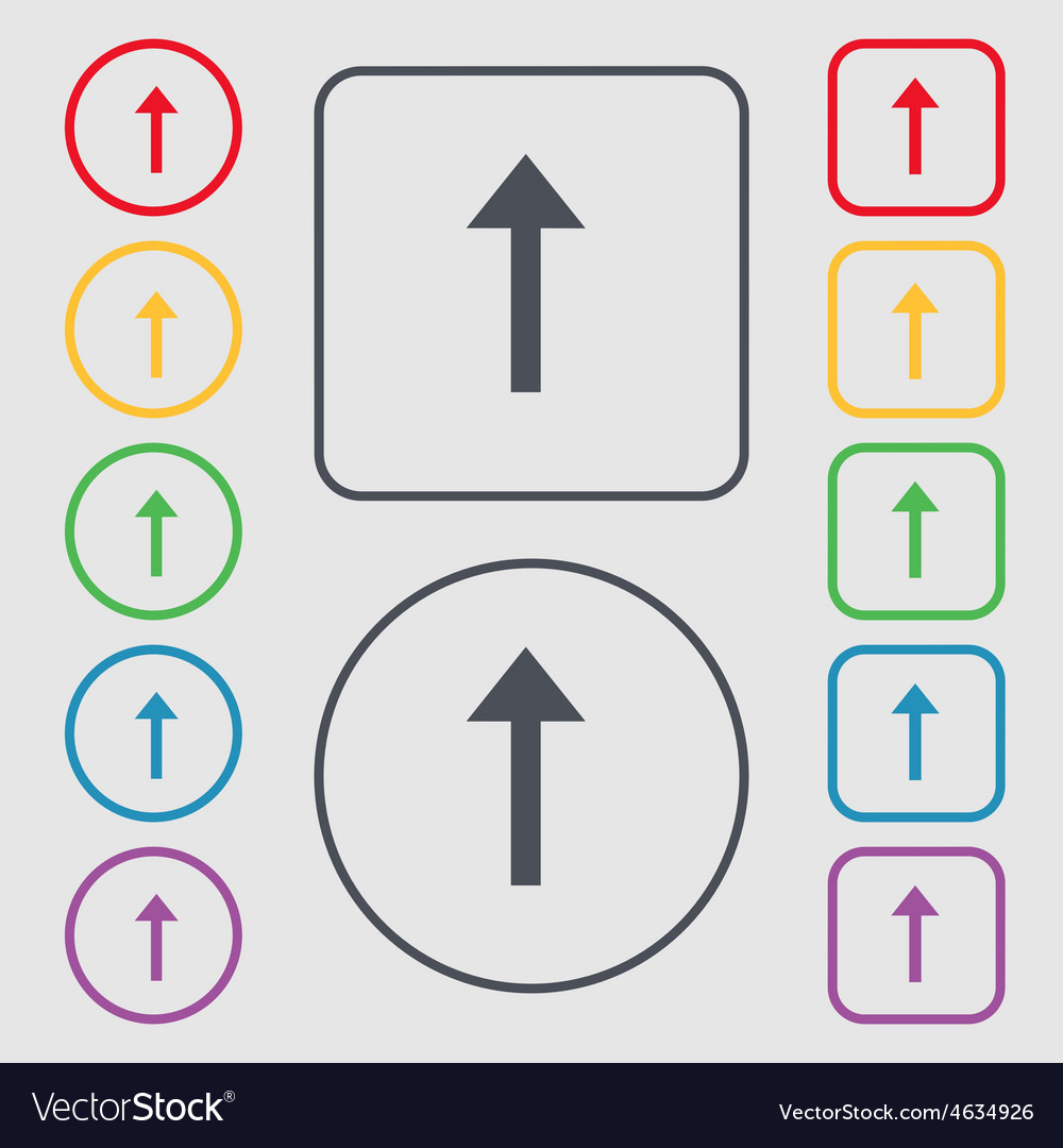 Direction arrow up icon sign symbol on the round vector | Price: 1 Credit (USD $1)
