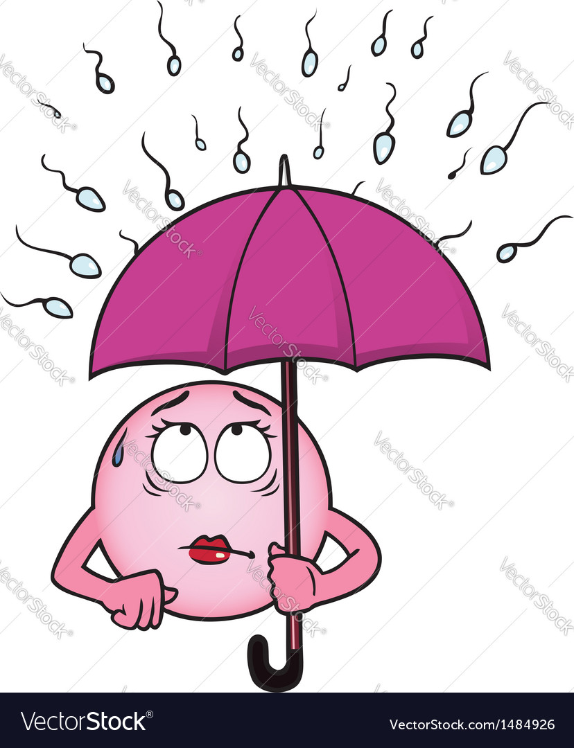 Egg cell holding umbrella against sperm cells vector | Price: 1 Credit (USD $1)