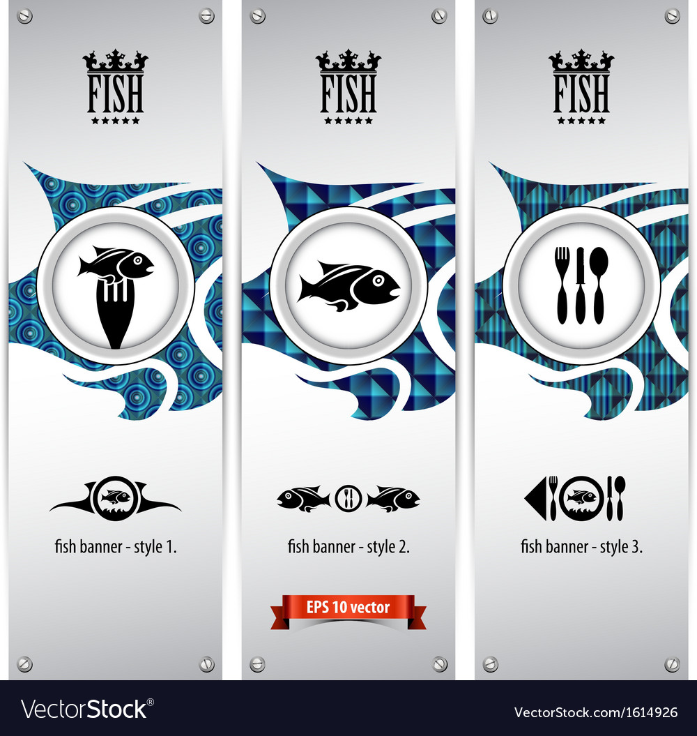 Fish banners vector | Price: 1 Credit (USD $1)