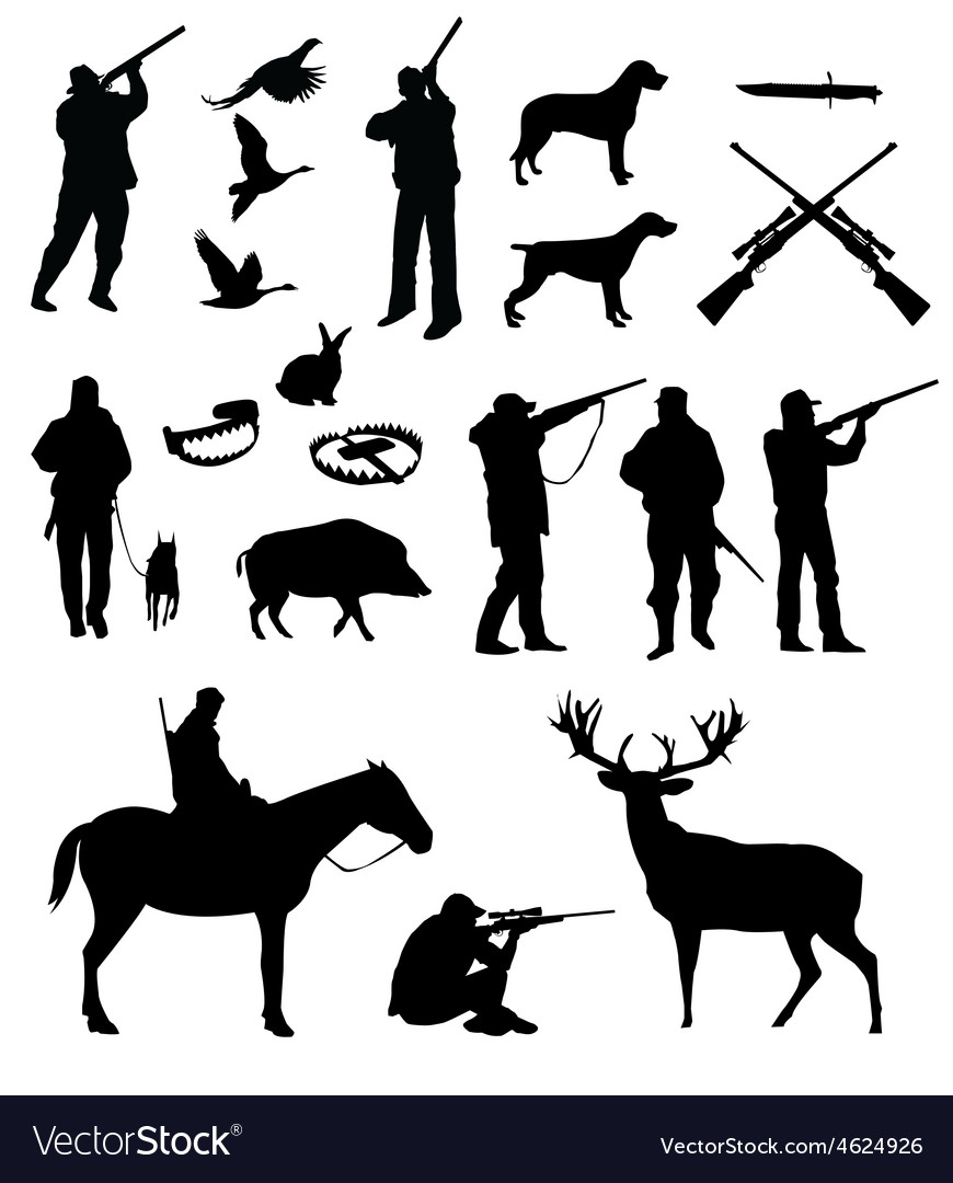 Hunting silhouettes vector
