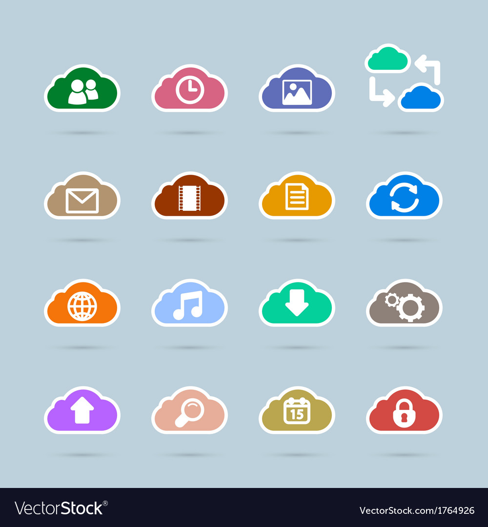 Set of cloud technology icons contrast color vector | Price: 1 Credit (USD $1)