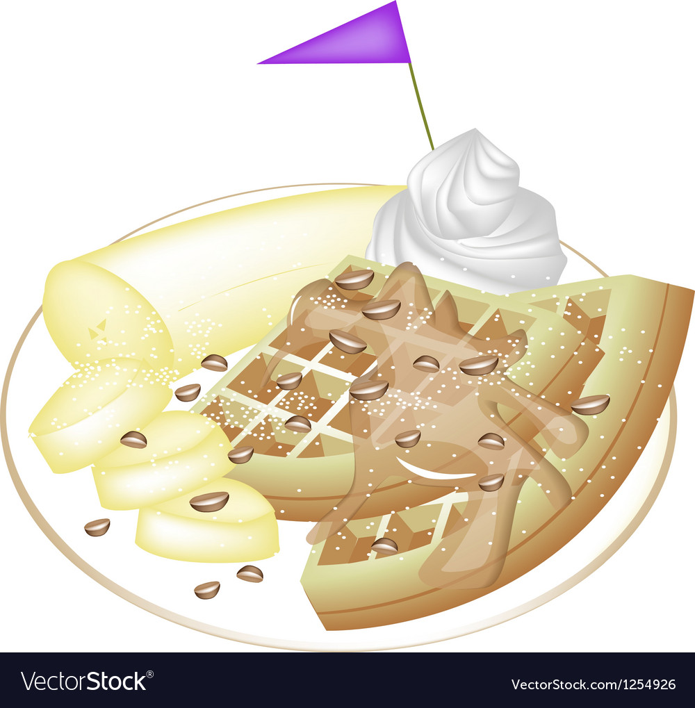 Tradition waffle with banana and whipped cream vector | Price: 1 Credit (USD $1)