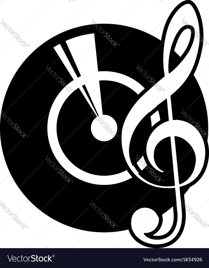 Vinyl record and a musical clef vector | Price: 1 Credit (USD $1)