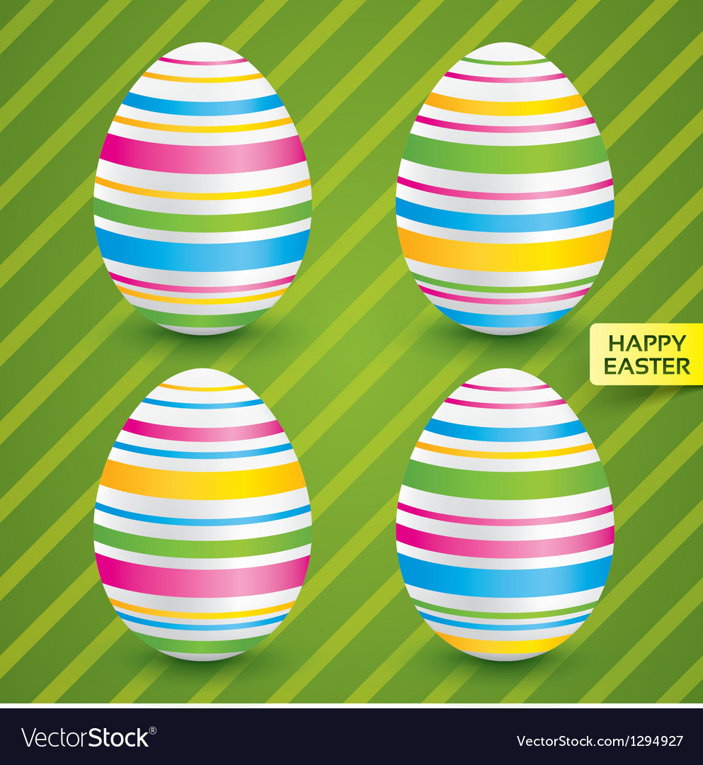 Easter white eggs with colorful patterns set vector | Price: 1 Credit (USD $1)