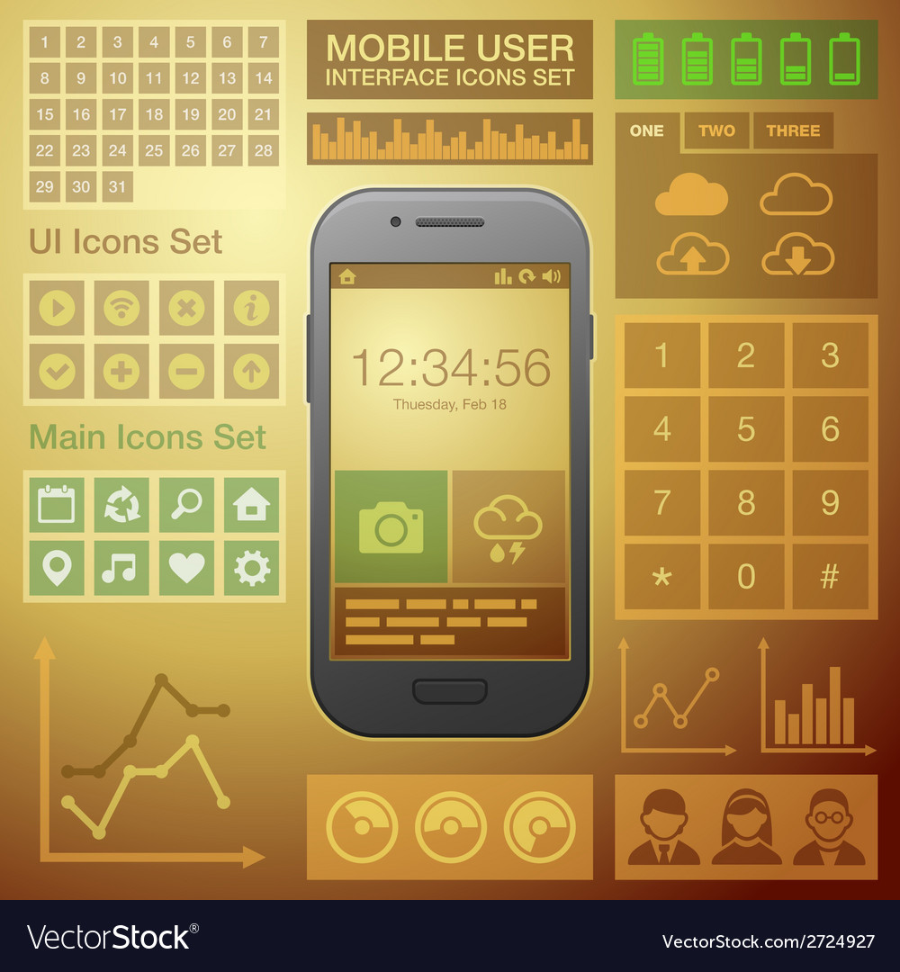 Flat mobile ui user interface design elements kit vector | Price: 1 Credit (USD $1)