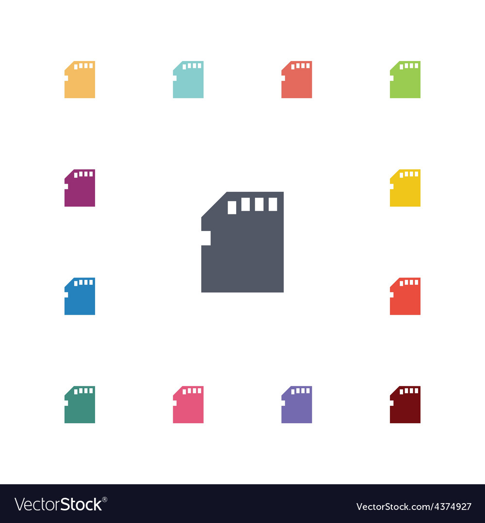 Memory card flat icons set vector | Price: 1 Credit (USD $1)