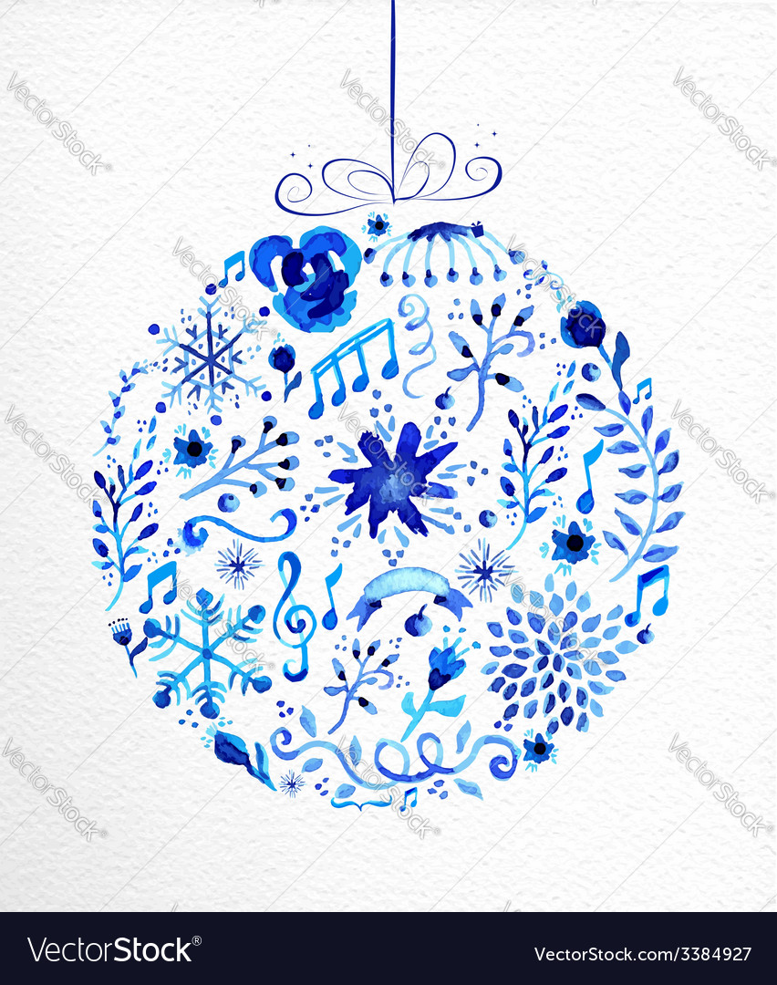 Merry christmas hand drawn bauble vector | Price: 1 Credit (USD $1)