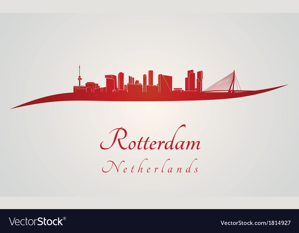 Rotterdam skyline in red vector | Price: 1 Credit (USD $1)