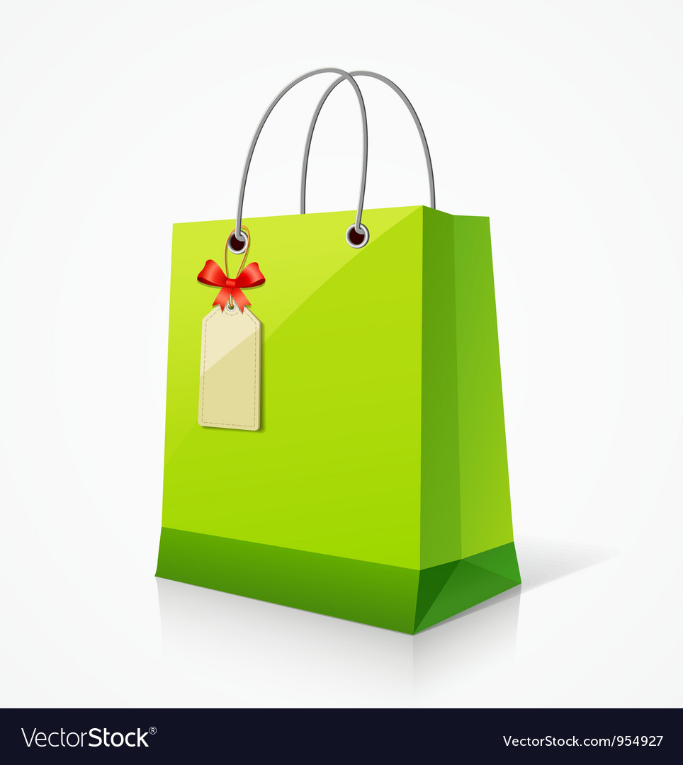 Shopping green paper bag vector | Price: 1 Credit (USD $1)
