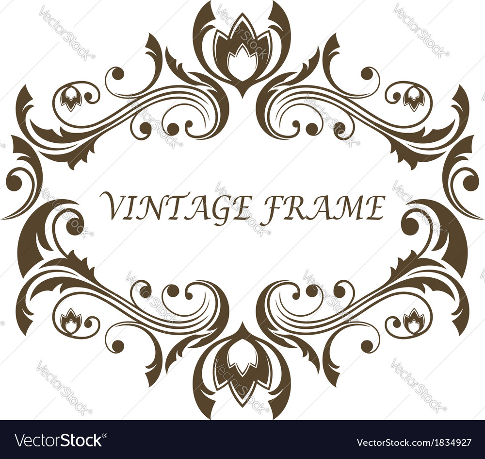 Vintage floral and foliate frame vector | Price: 1 Credit (USD $1)