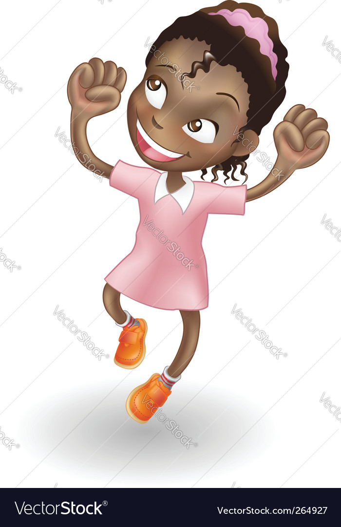 Young girl jumping for joy vector | Price: 1 Credit (USD $1)