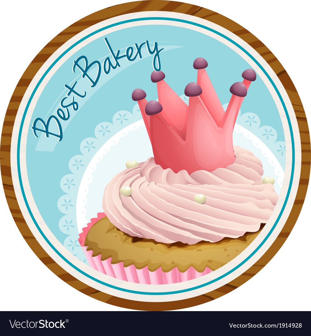 A best bakery label with a cake vector | Price: 3 Credit (USD $3)