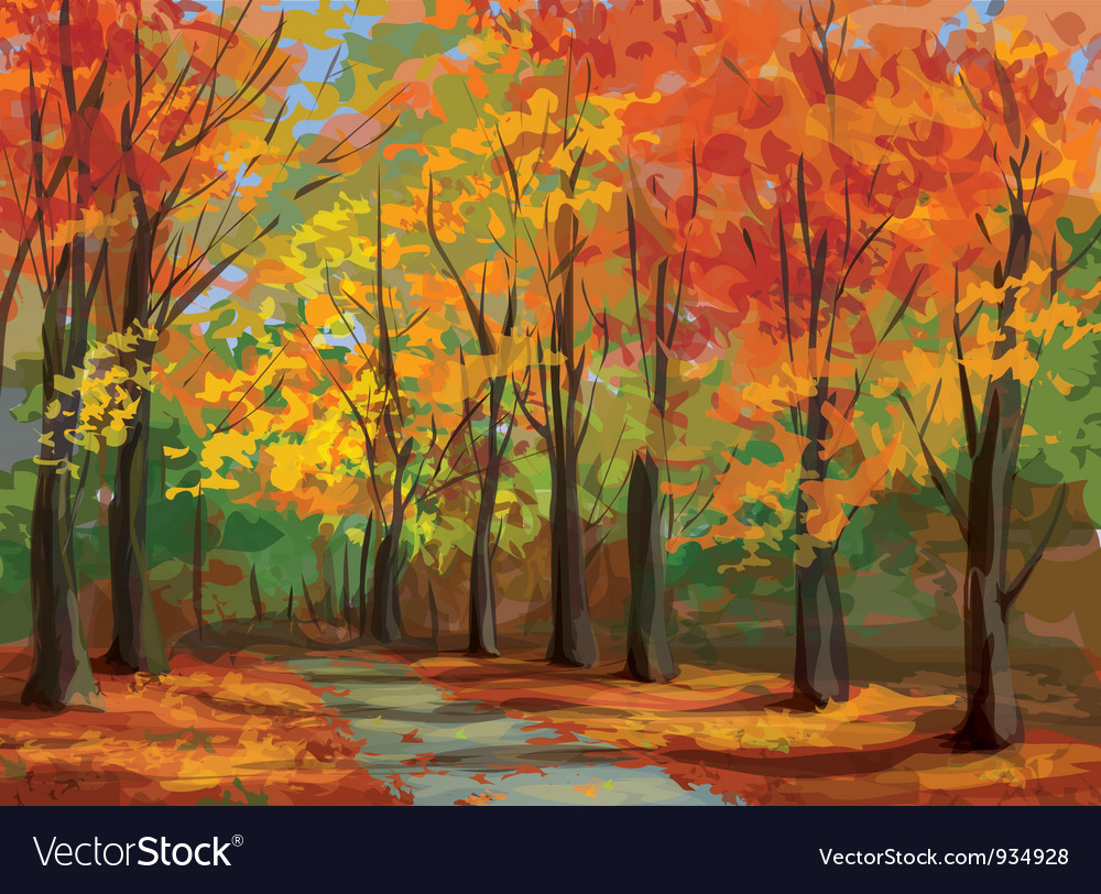 Autumn landscape vector | Price: 3 Credit (USD $3)