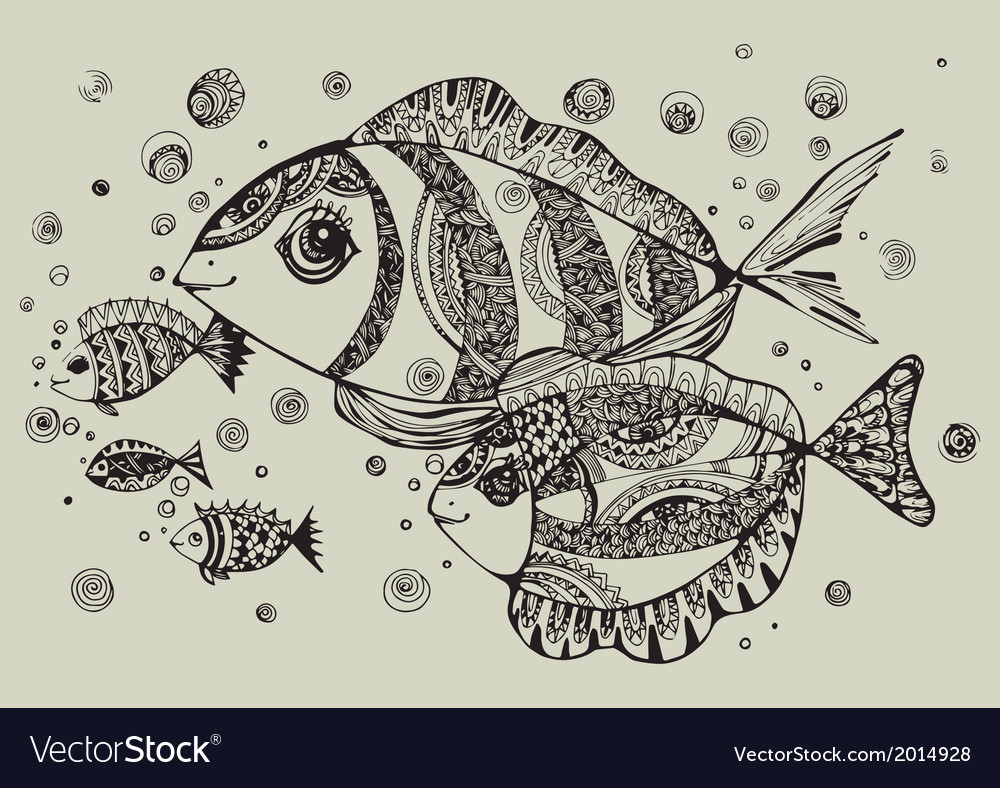 Black and white of fish vector | Price: 1 Credit (USD $1)
