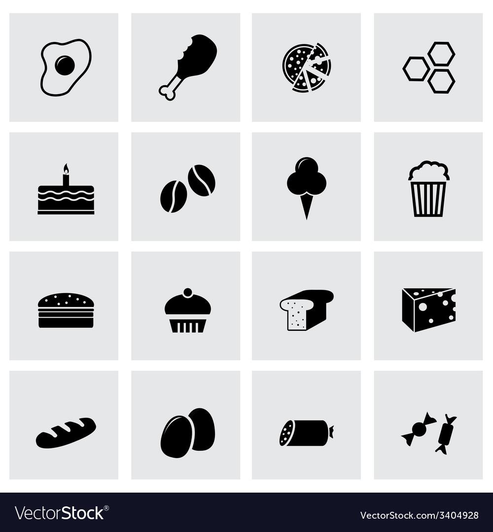 Black food icons set vector | Price: 1 Credit (USD $1)