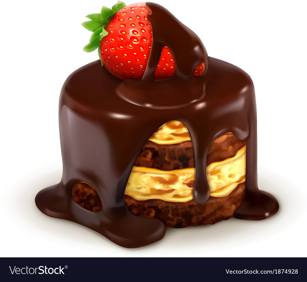 Cake with strawberry in chocolate detailed vector | Price: 1 Credit (USD $1)