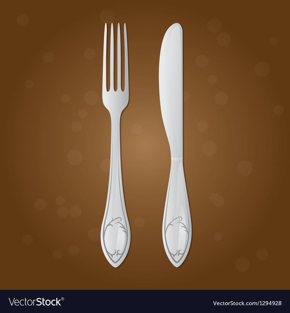 Fork and table knife on a brown background vector | Price: 1 Credit (USD $1)