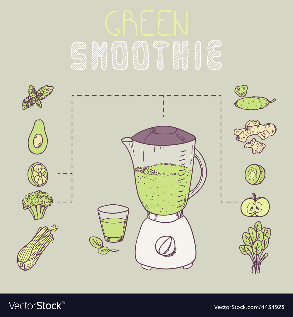 Green smoothie template receipt vector | Price: 1 Credit (USD $1)