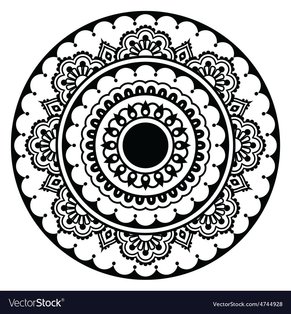 Mehndi indian henna floral tattoo round pattern vector | Price: 1 Credit (USD $1)