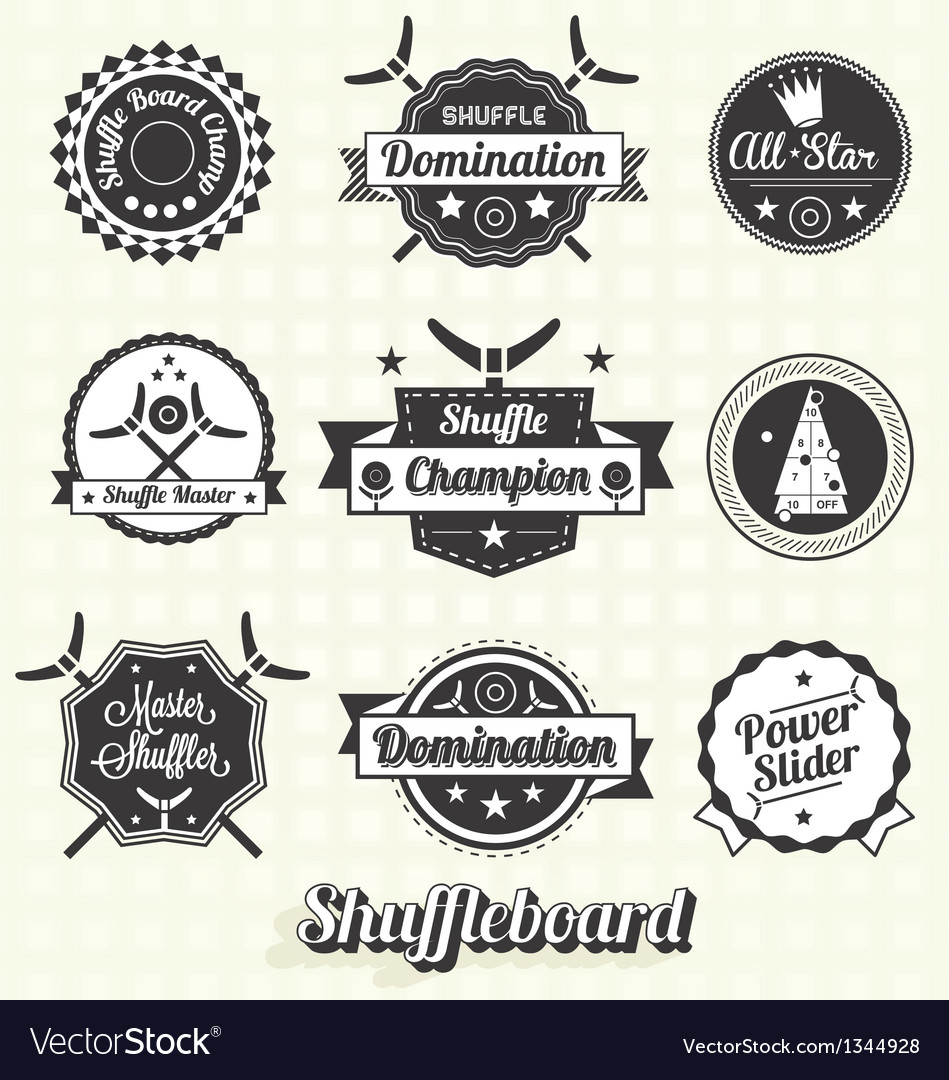 Retro shuffleboard labels and icons vector | Price: 1 Credit (USD $1)