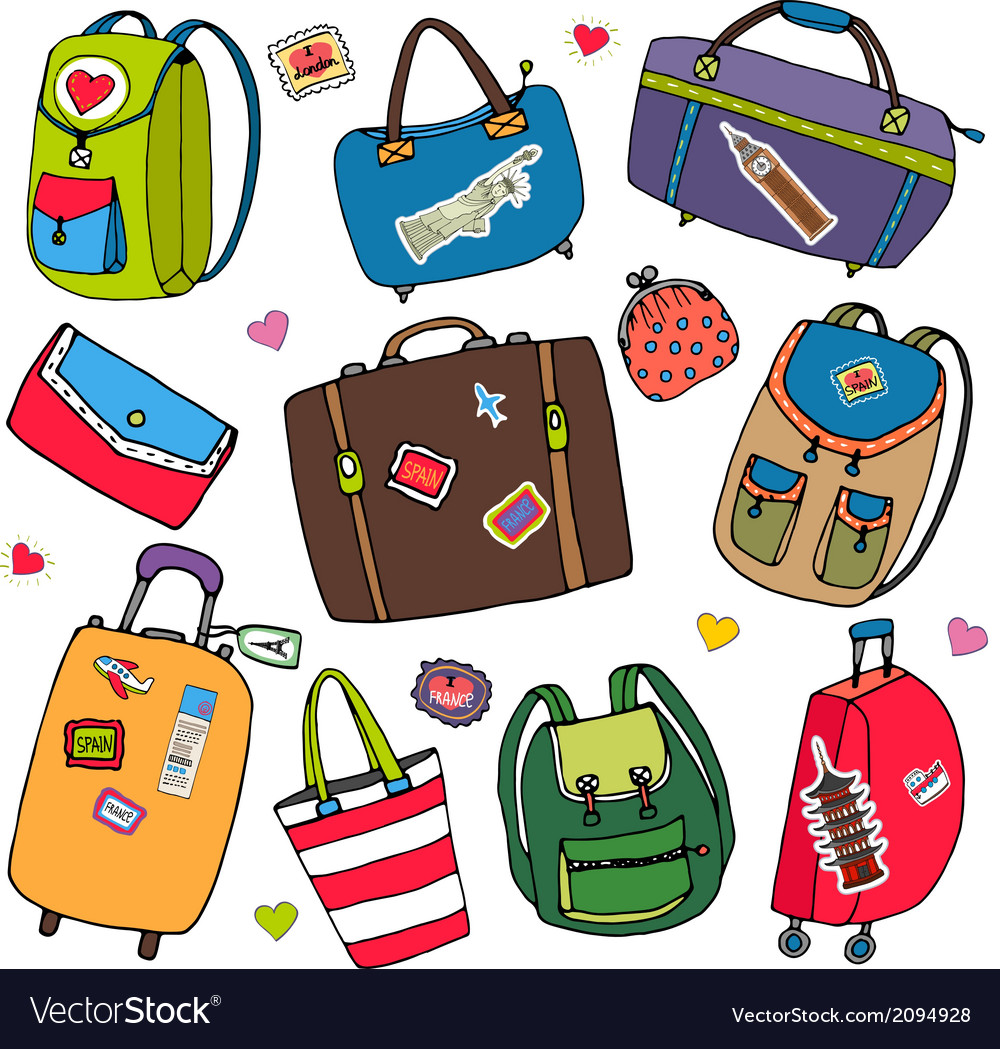 Set of bags backpacks and suitcases vector | Price: 1 Credit (USD $1)