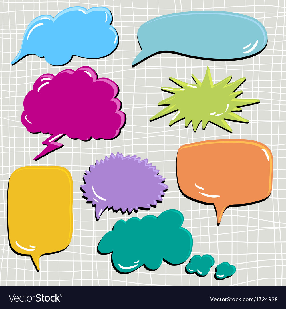 Set of speech and thought blobs scrapbook design vector | Price: 1 Credit (USD $1)