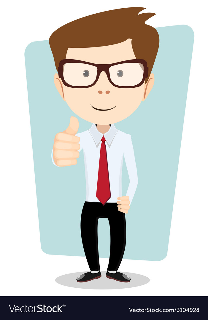 Smiling and winking cartoon business man giving vector | Price: 1 Credit (USD $1)