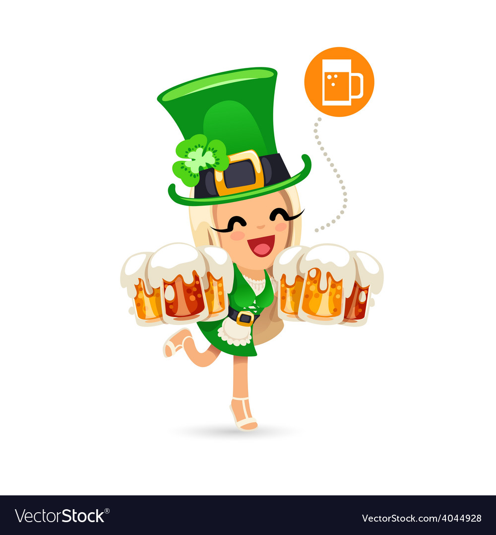 Waitress on the patricks day party vector | Price: 3 Credit (USD $3)