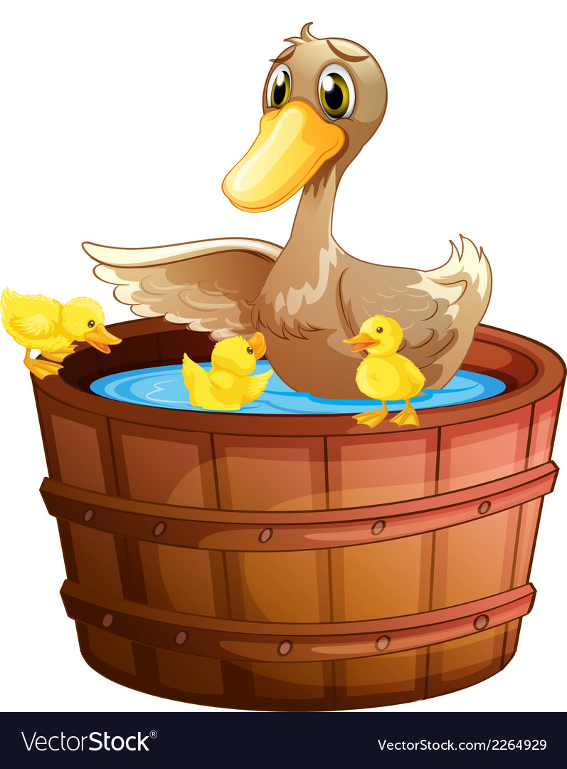 A duck and her ducklings at the bathtub vector | Price: 1 Credit (USD $1)
