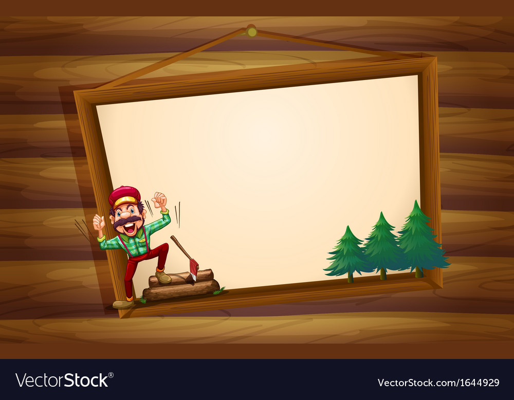 A hanging wooden signboard with a woodman shouting vector | Price: 3 Credit (USD $3)