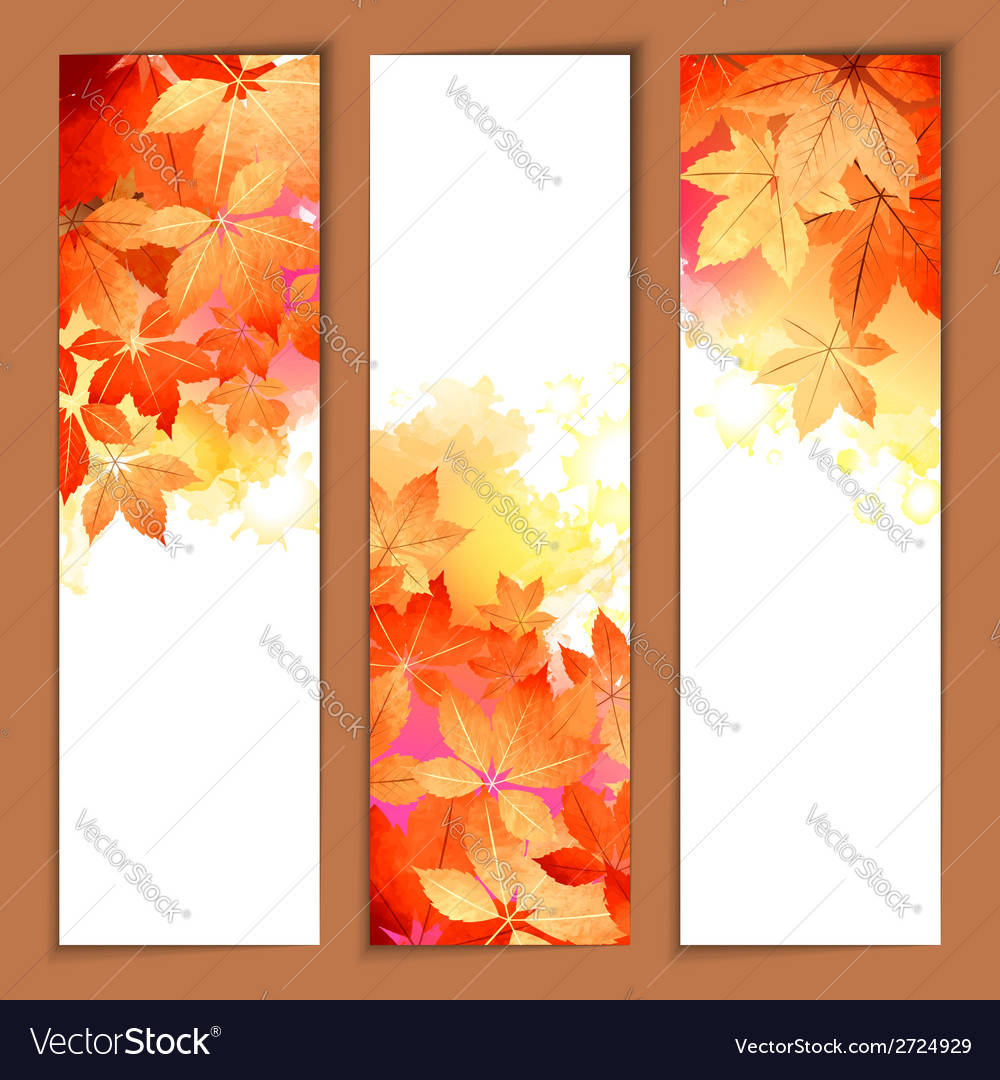 Autumn watercolor headers vector | Price: 1 Credit (USD $1)