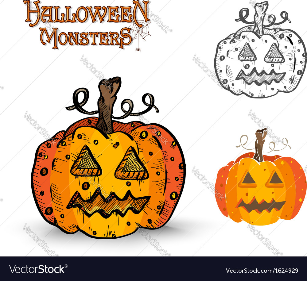 Halloween monsters spooky pumpkin eps10 file vector | Price: 1 Credit (USD $1)