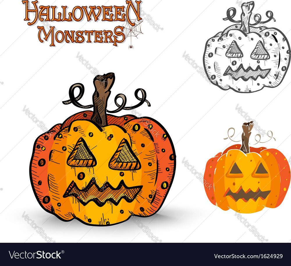 Halloween monsters spooky pumpkin eps10 file vector | Price: 1 Credit (USD $1)