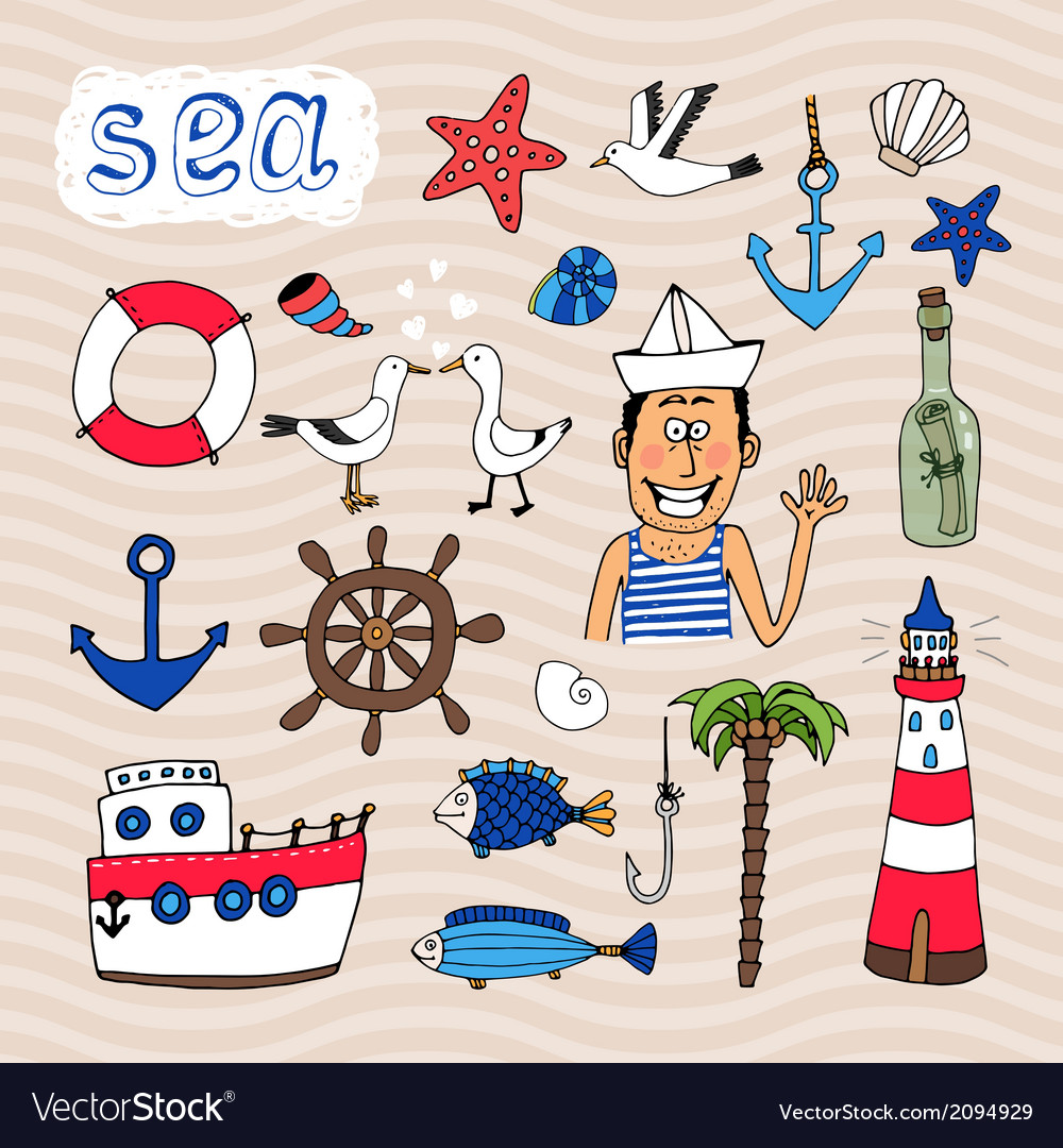 Hand drawn nautical elements vector | Price: 1 Credit (USD $1)