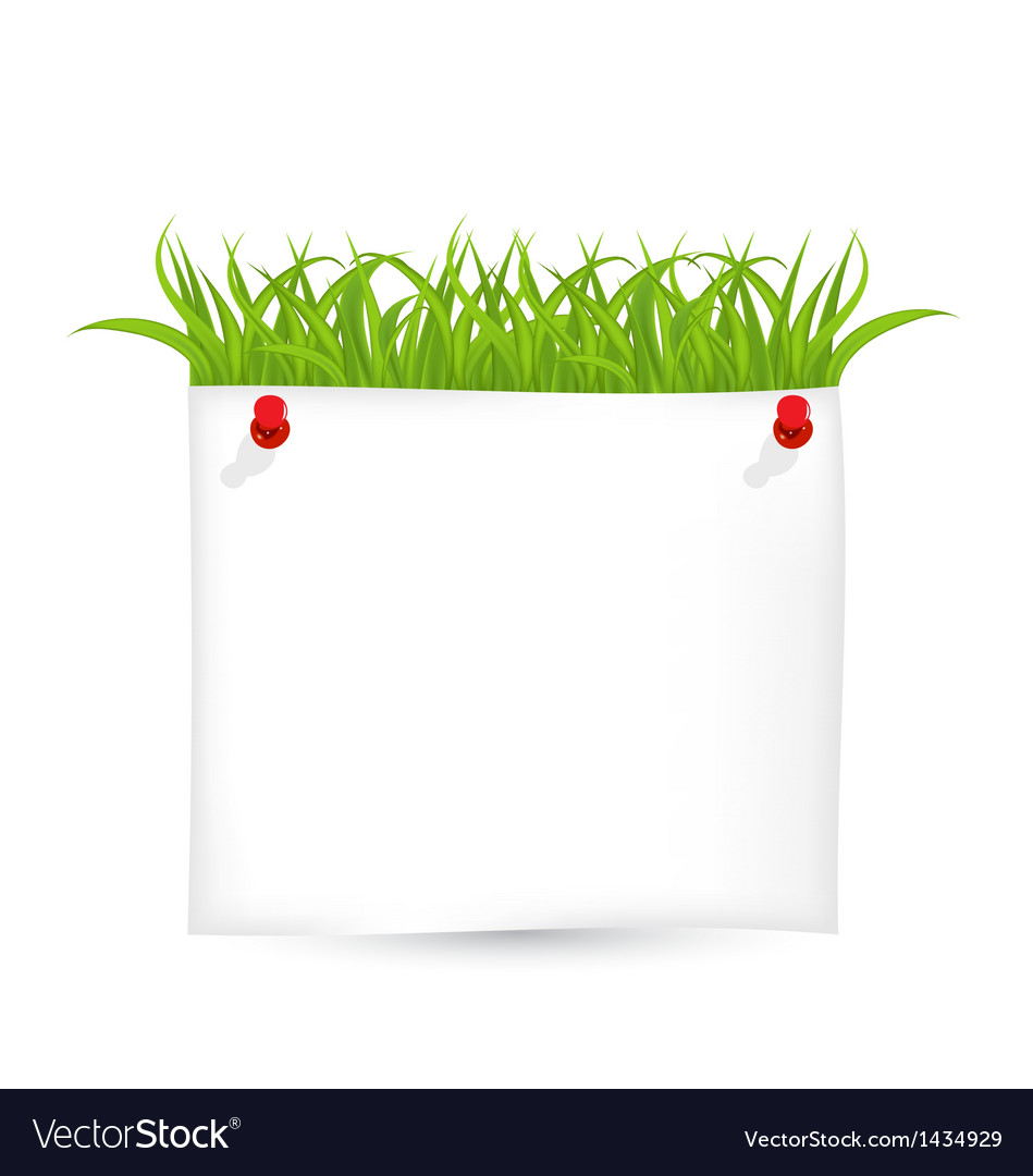 Paper sheet with green grass vector | Price: 1 Credit (USD $1)